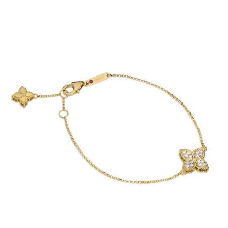 Roberto Coin браслет в лимоном золоте с бриллиантами коллекция Princess Flower