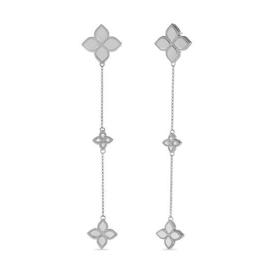 Серьги в белом золоте с бриллиантами и рубином Roberto Coin коллекция Princess Flower