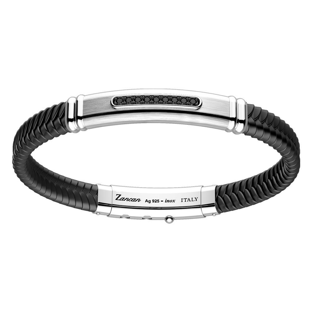Черный браслет со вставкой серебра Zancan EXB935-TI