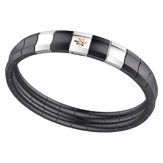 bracciale-in-acciaio-spinelli-neri-e-ceramica-nera