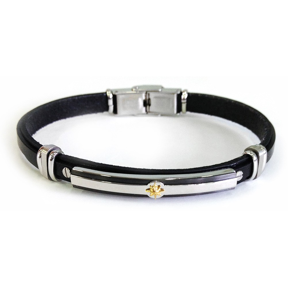 leather-bracelet-with-steel-plate-and-kompass